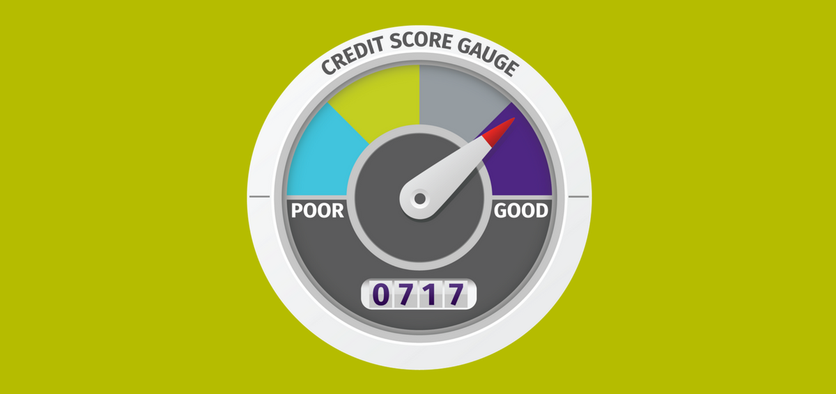 This picture shows a credit score gauge