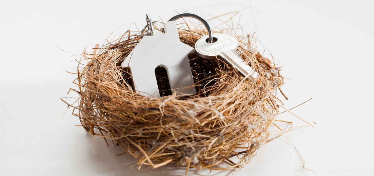 Picture of a keys to a home in a nest.