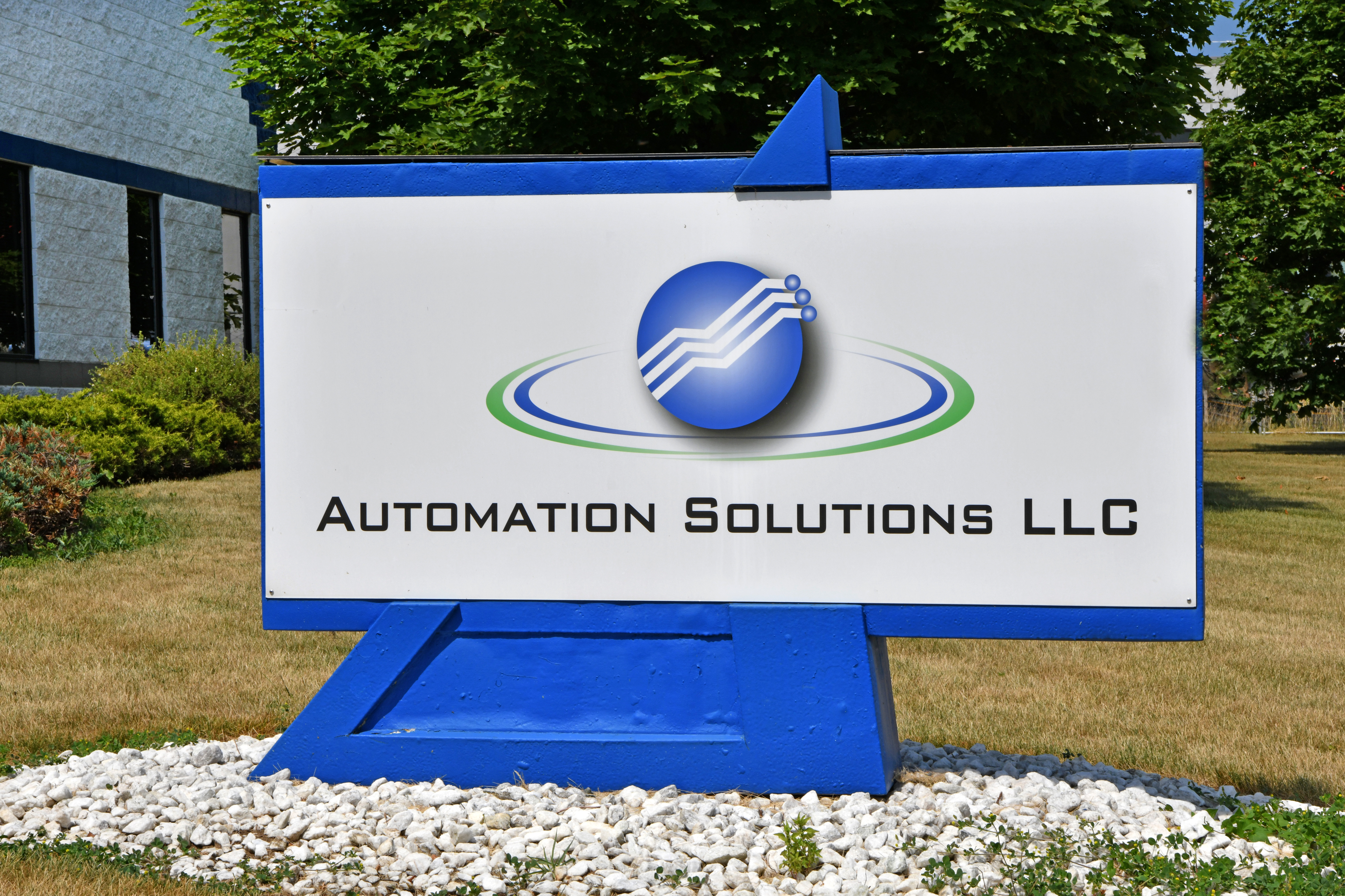 Exterior building sign at Automation Solutions.